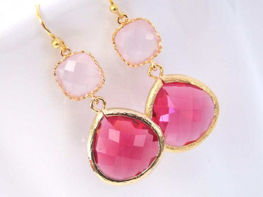 Pink Earrings Gl Fuschia Gold Dangle Drop Soft Hot Wedding Jewelry Bridesmaid Earringsl Gift
