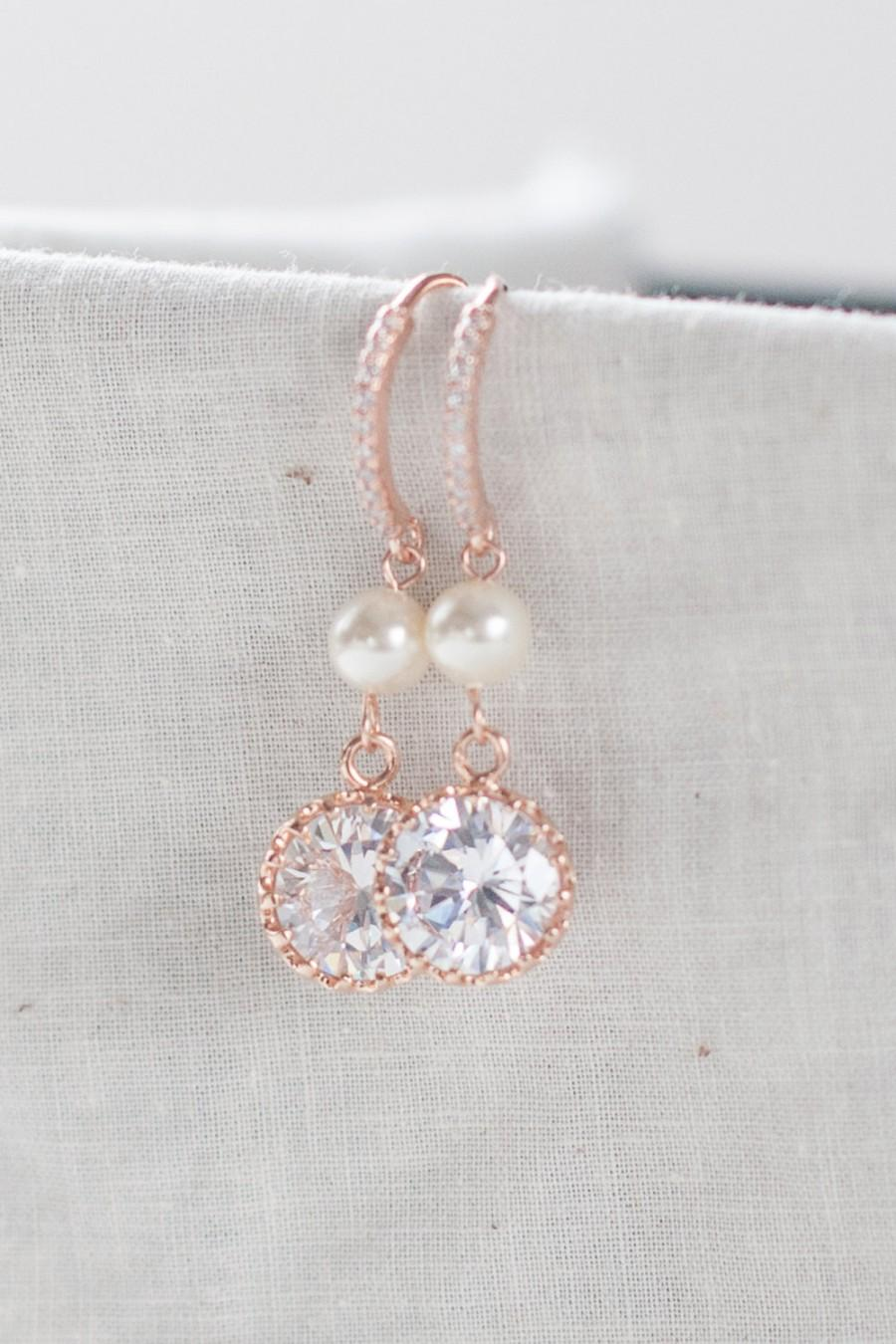 Rose Gold And Pearl Earrings Pink Diamond Pendant Dangle Bridal Jewelry Prom Wedding