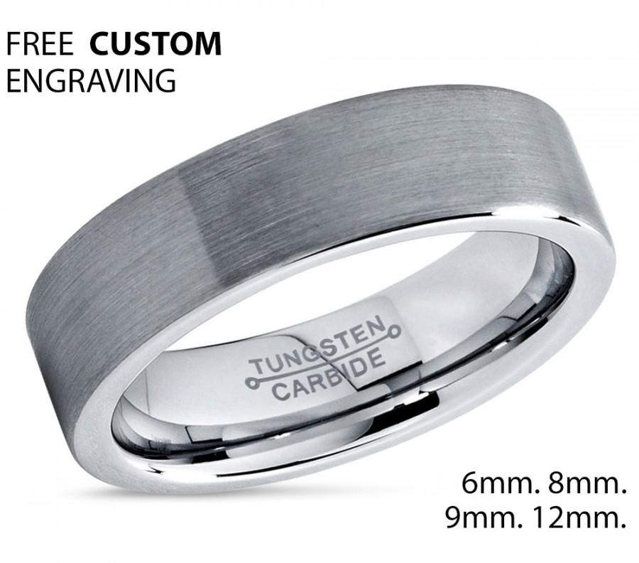 Mens Wedding Band Brushed Tungsten Carbide Unique Mens Wedding Band
