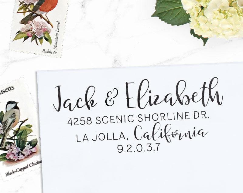 Mariage - Custom Address Stamp, Return Address Stamp, Wedding address stamp, Calligraphy Address Stamp, Self inking or Eco Mount stamp  - Elizabeth