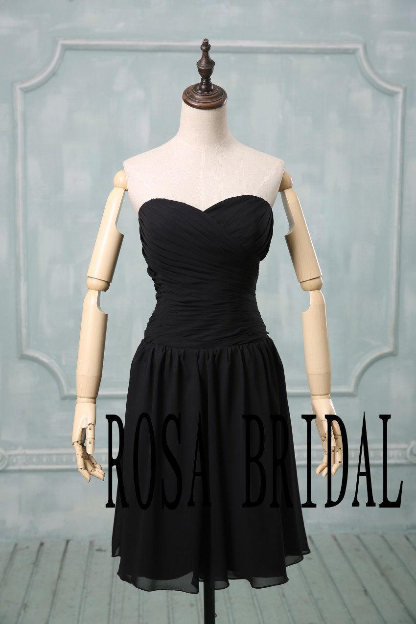 Black Wedding Dress Color : Bridesmaid dress black simple custom size color