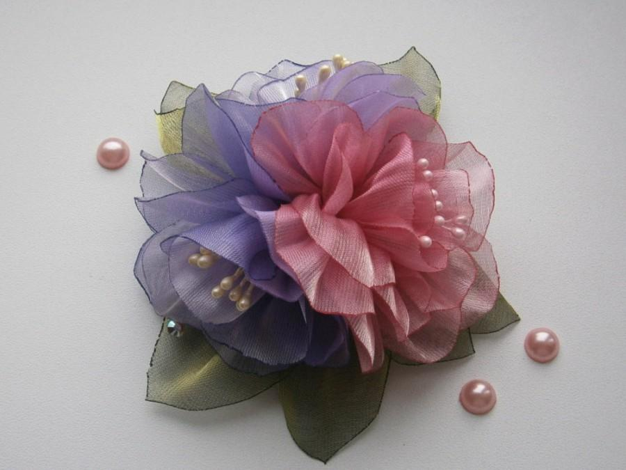 Small Flower Brooch-clip, Fabric Organza Flower Bouquets, Violet ...