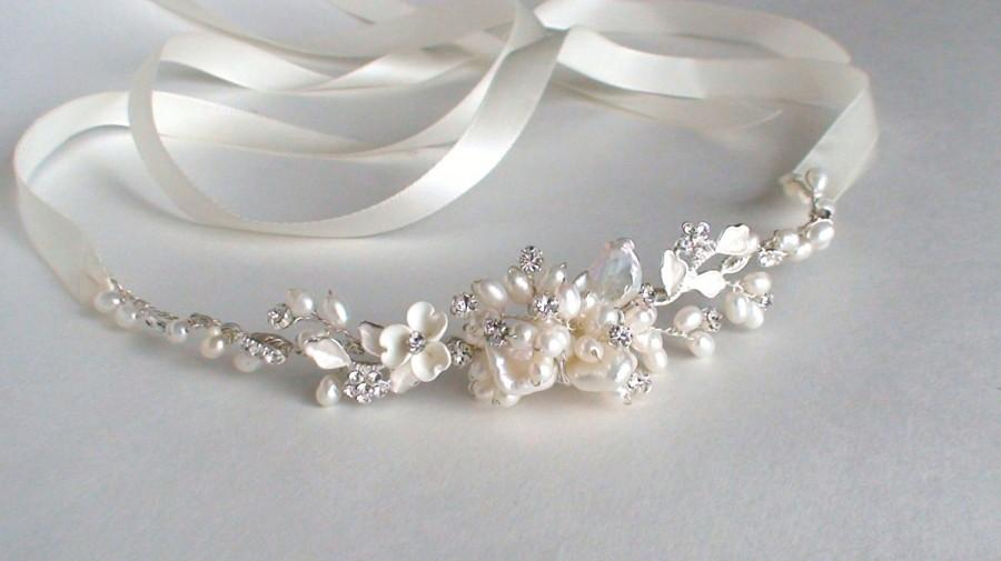Düğün - Bridal headband. Bridal head piece. Wedding headband. Pearl headband. Ribbon headband. Bridal headpiece. Headband. Hair accessories.