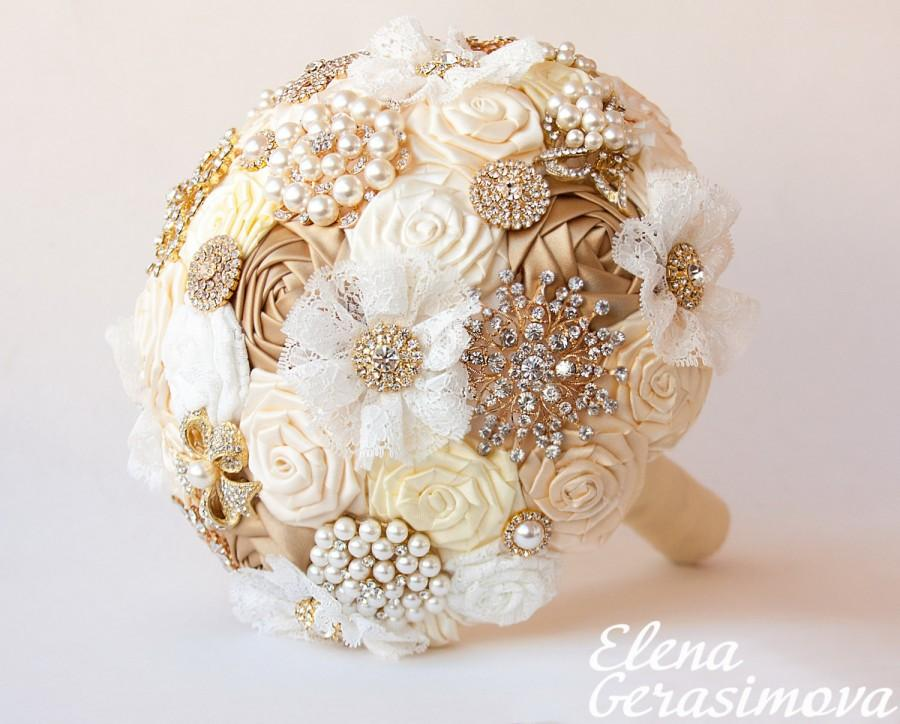 SALE!!! Brooch Bouquet. Gold Ivory Fabric Bouquet 84a3211bc701