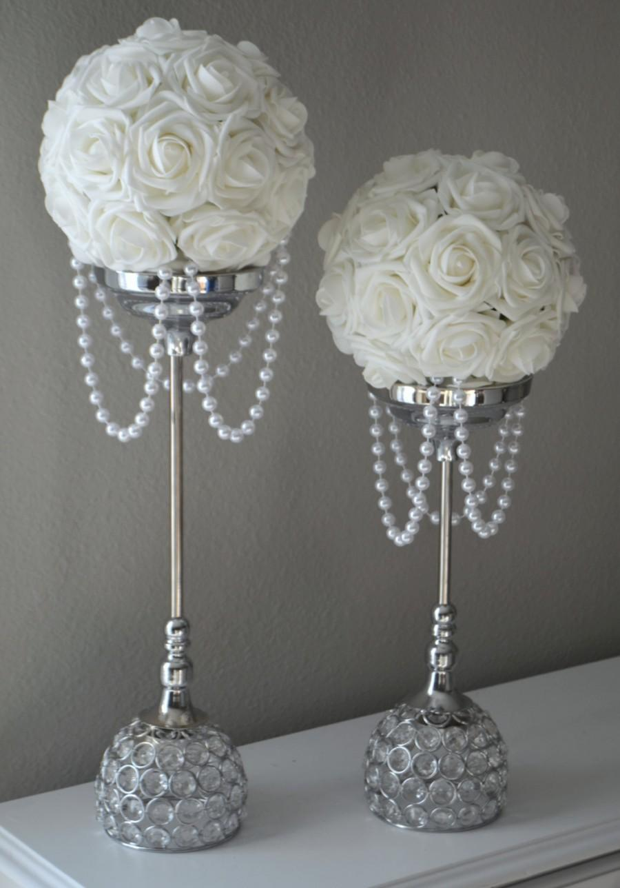 Wedding accessories pearls flowers pearls - White Flower Ball With Draping Pearls Wedding Decor Bridal Shower Flower Girl Choose Your Rose Color