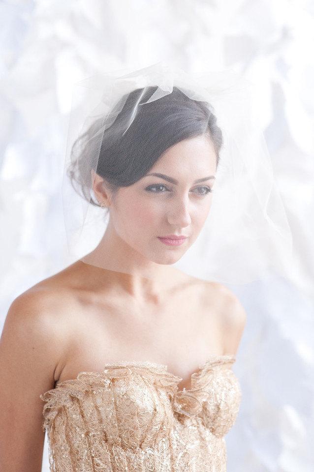 Wedding - Tulle birdcage veil, 18 inch veil, bridal veil, wedding veil, ivory veil, 18 inch veil - READY TO SHIP