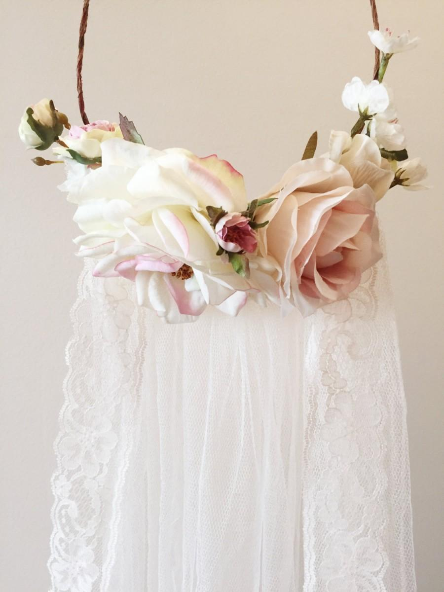 Bridal Flowers In Hair With Veil : Blush pink flower crown veil bridal
