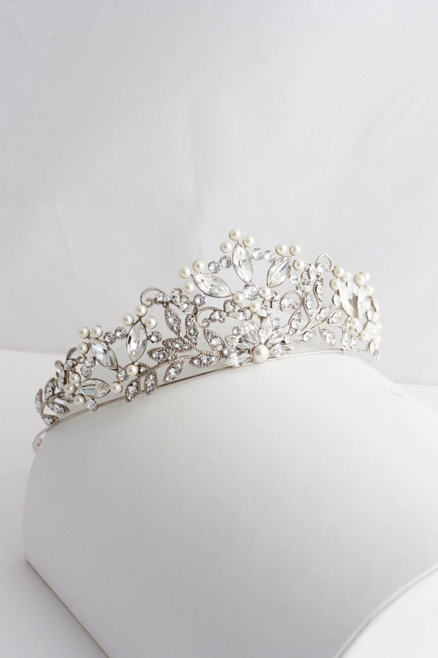 Wedding - Wedding Tiara Handmade Bridal Crown Pearl Crystal Wedding Tiara Swarovski Crystal Crown Tiara  Wedding Bridal Tiara Rose Gold Tiara AISLINN