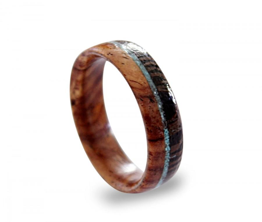 Mariage - Cocobolo wood ring inlaid with wenge wood and turquoise