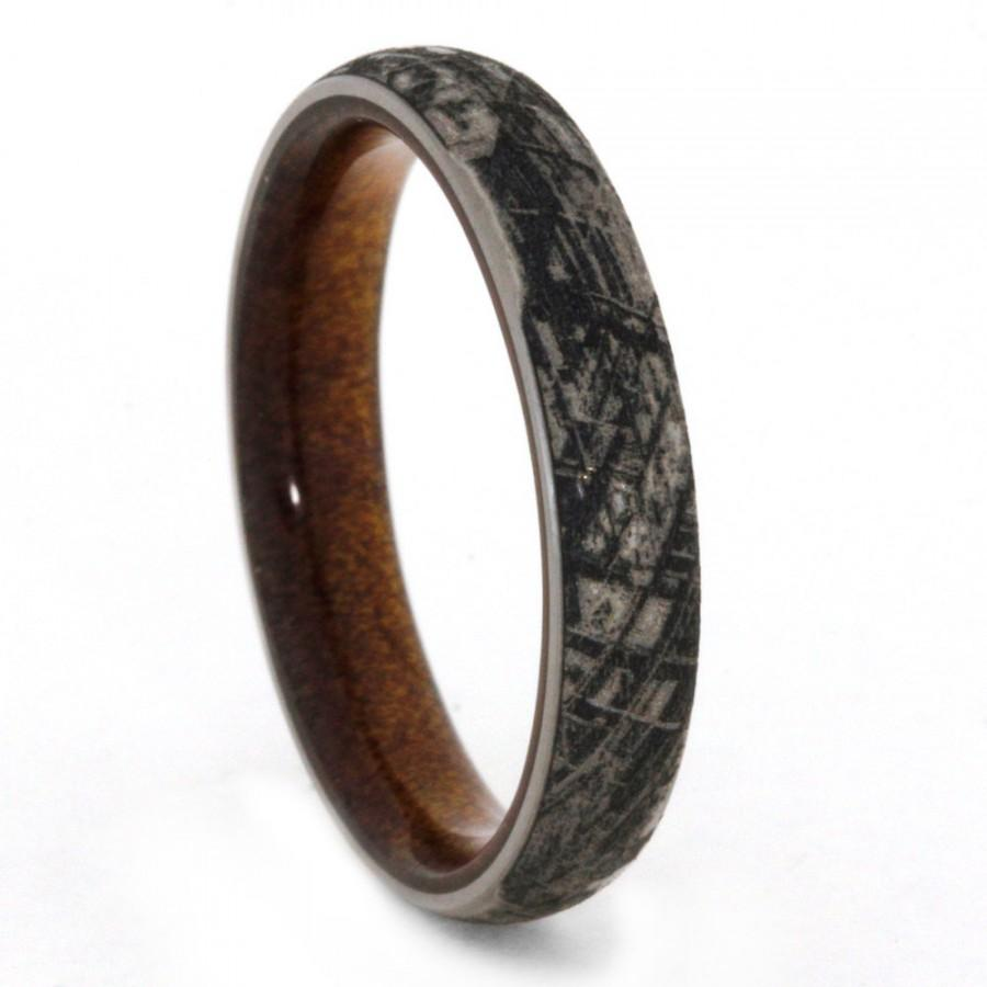Hochzeit - Engraved Titanium Wedding Band, Mimetic Meteorite Ring With Kauri Wood Sleeve, Custom Made Ring
