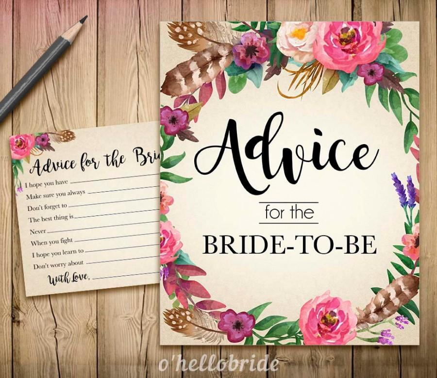 Advice For The Bride To Be - Advice For The Newlywed Printable ...