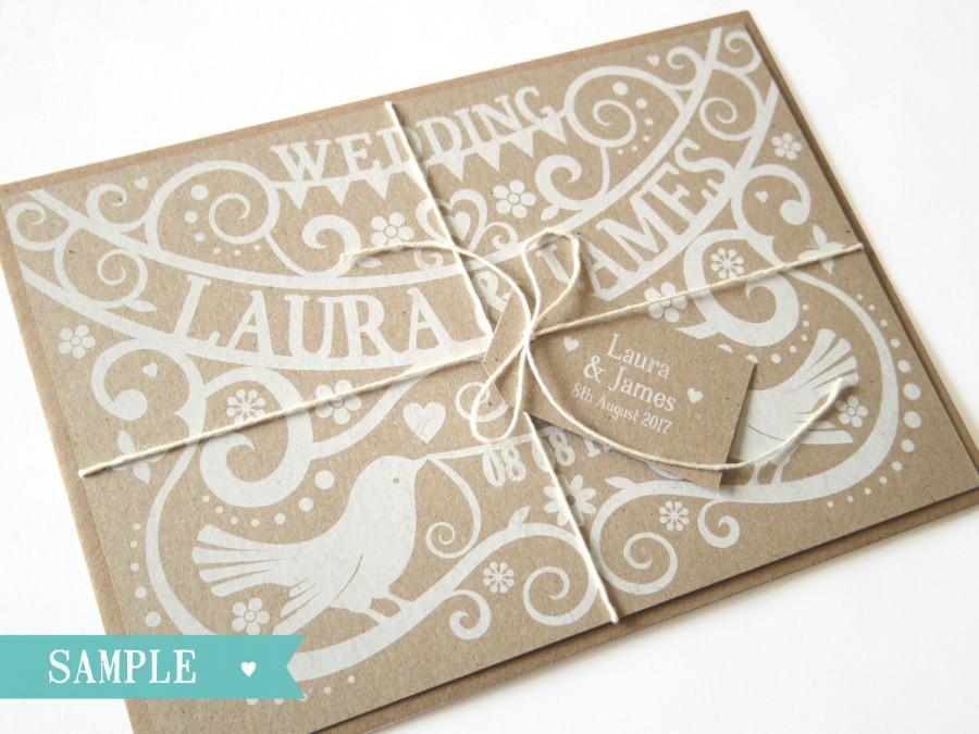 Hochzeit - Paper Cut - Love Birds Wedding Invitation SAMPLE