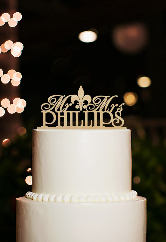 Mr And Mrs Cake Topper Fleur De Lis Wedding Cake Topper Personalized