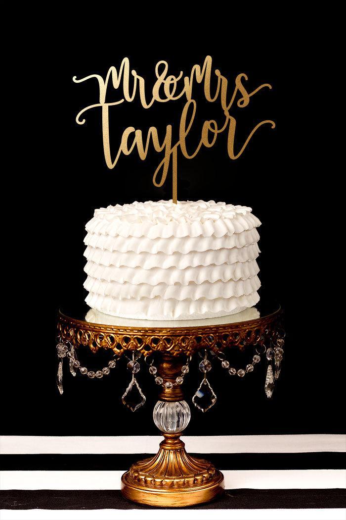 Wedding - Custom Last Name Wedding Cake Topper - Blissful Collection