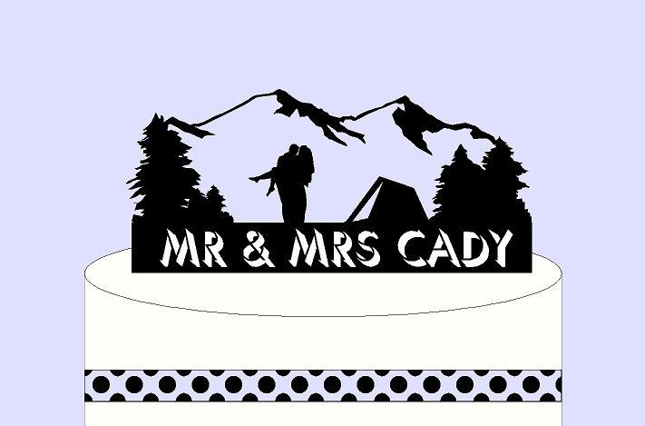 Mariage - Custom Cake Topper & Keepsake - Tent and Mountains for the Bride and Groom Camper, Best Day Ever, Can be Your Phrase, Names, or Dates