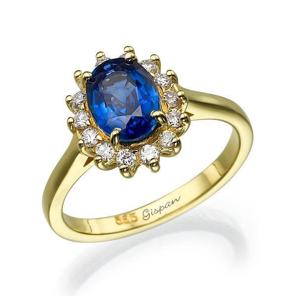 Свадьба - Sapphire Engagement Yellow Gold Ring, Sapphire Ring, Gemstone engagement ring, Blue Sapphire Ring, Gem Ring, Diamond Ring, Promise Ring