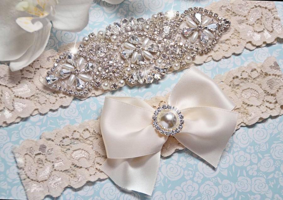 Pearl Wedding Garter Crystal Bridal Set Vintage Inspired Stretch Lace Size Plus
