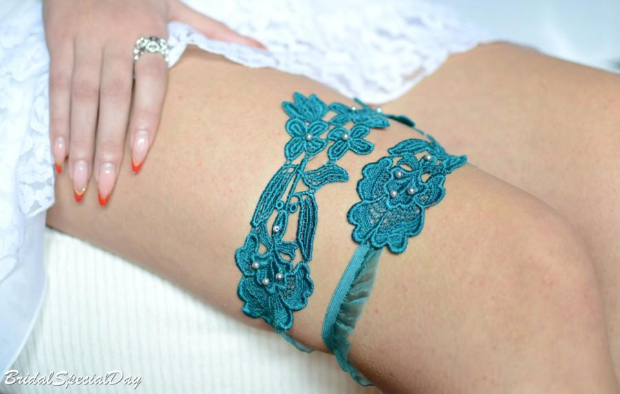 Hochzeit - Wedding Garter, Light Teal Garter, Bridal Garter, Blue Lace Garter, Bridal Garter Set, Something Blue, Wedding Garter Blue, Turquoise Garter