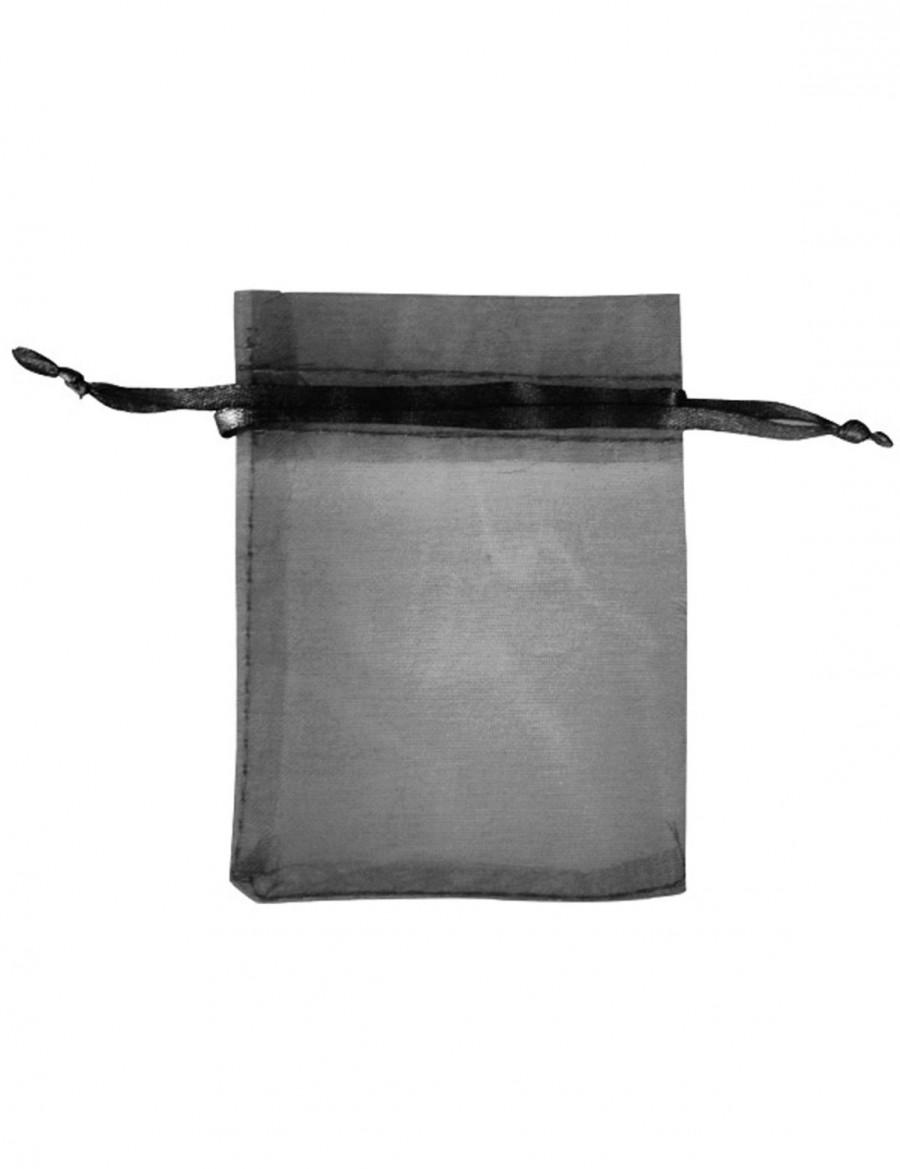 Mariage - 20 Black Organza Bags 2.75×3.5''(7x9cm),  Organza Favor Bags Wholesale,Drawstring Bags, Candy Bags,Jewelry Bags  BB0001-6