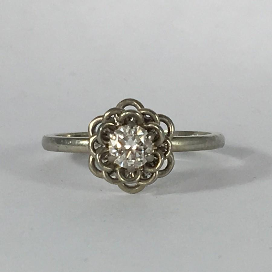 Wedding - Vintage Diamond Solitaire Ring. A Floral Style Ring by Jabel. 14K Gold. Unique Engagement Ring. April Birthstone. 10 Year Anniversary Gift