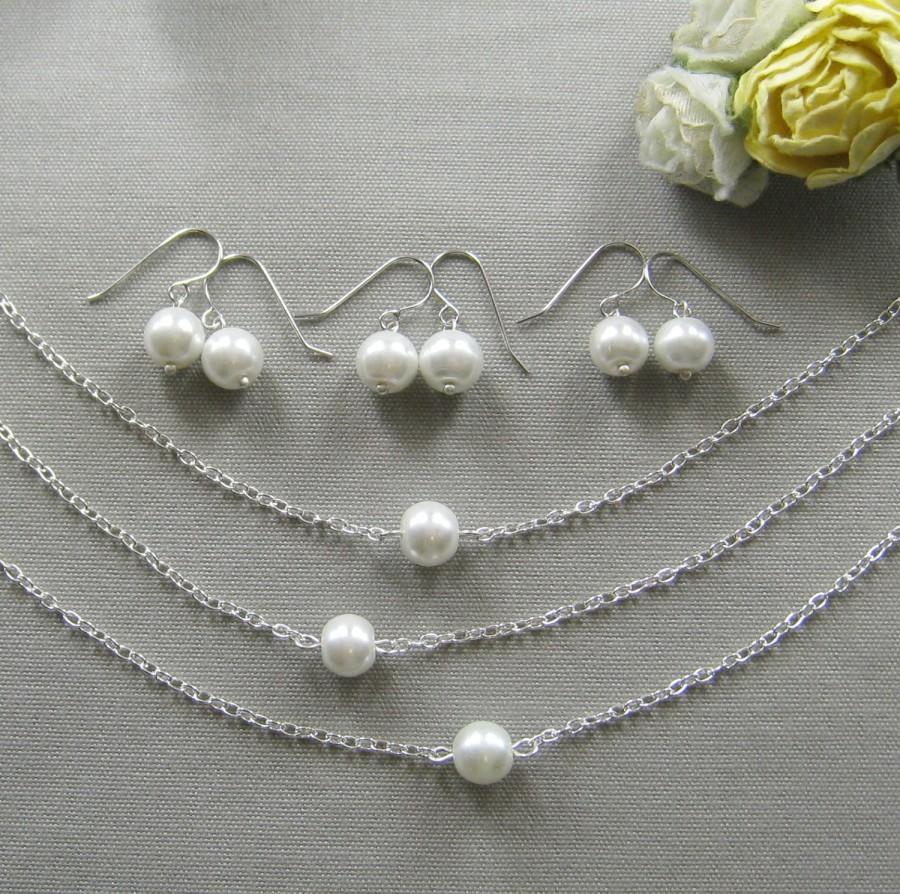زفاف - SET of 5 Simple chic single pearl necklace and earring SET, bridesmaids necklace, wedding jewelry - W001S (Choose your pearl colour)