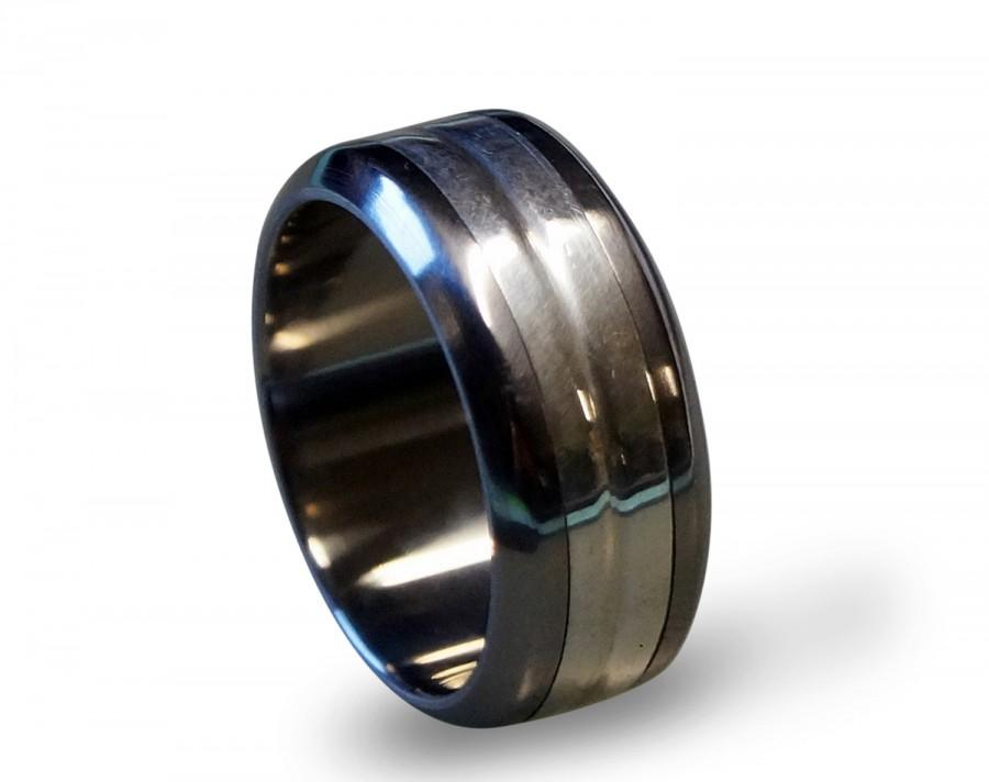 Mariage - Titanium Ring Inlaid with Sterling Silver, Silver Ring, Silver Inlay, Sterling Silver Ring