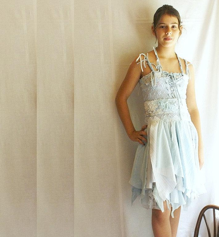 Mariage - Junior Bridesmaid Dress Fairy Dress for Girl in Pale Blue. Mori Girl Tattered Upcycled Romantic Funky Eco Style.