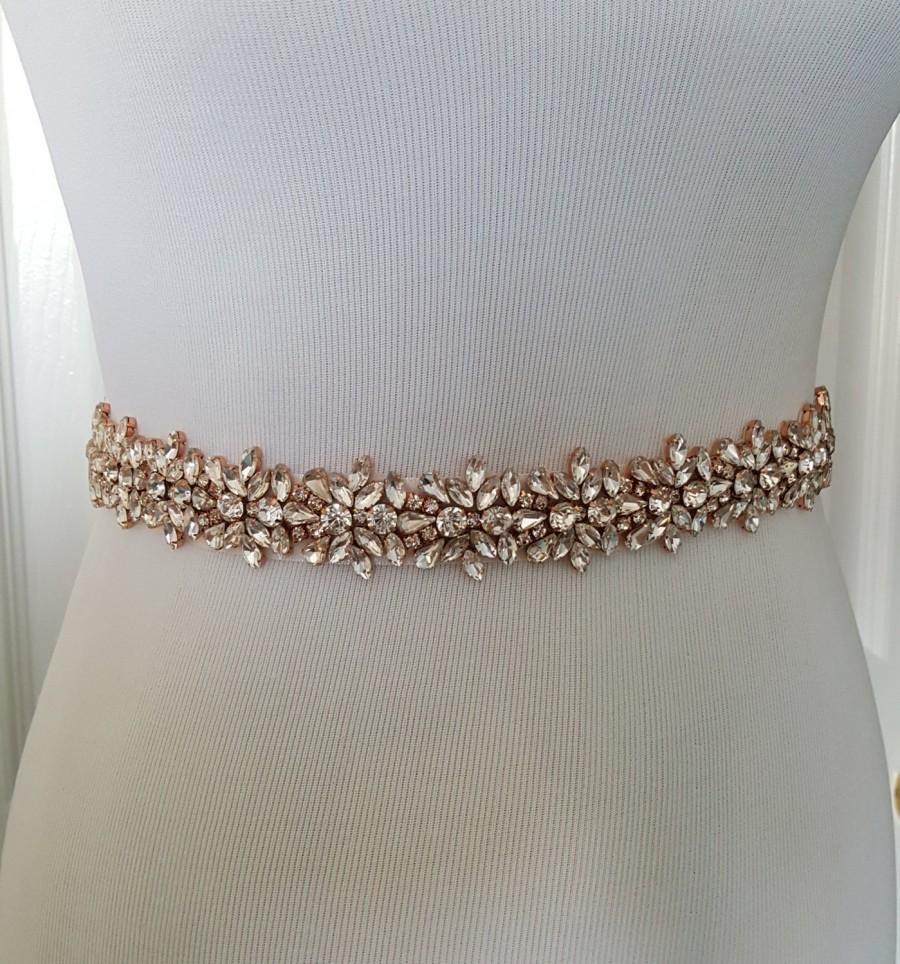 Mariage - Rose Gold Wedding Belt, Rose Gold Bridal Belt, Gold Bridal Belt, Gold Bridal Sash Belt - Style 278