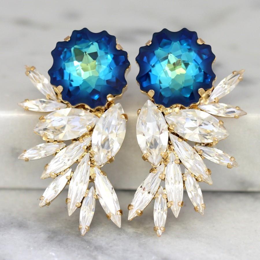 Mariage - Blue Statement Earrings,Swarovski Chandelier Earrings,Bridal Earrings,Cocktail Earrings,Big Earring, cocktail earrings, Wedding Earrings