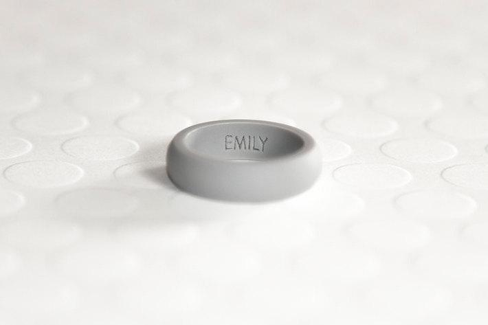Mariage - Personalized Silicone Ring - Gray Women's Silicone Wedding Band Safe Ring Gift for Wife Ring Gift For Him Gift