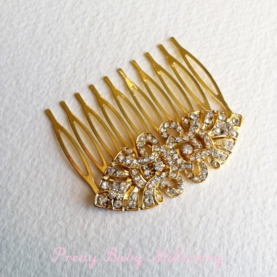 Свадьба - Gold hair comb, 24k Gold Art Deco Comb, Gold hair accessories, Art Deco headpiece,  head piece rhinestone 24K GOLD EYE