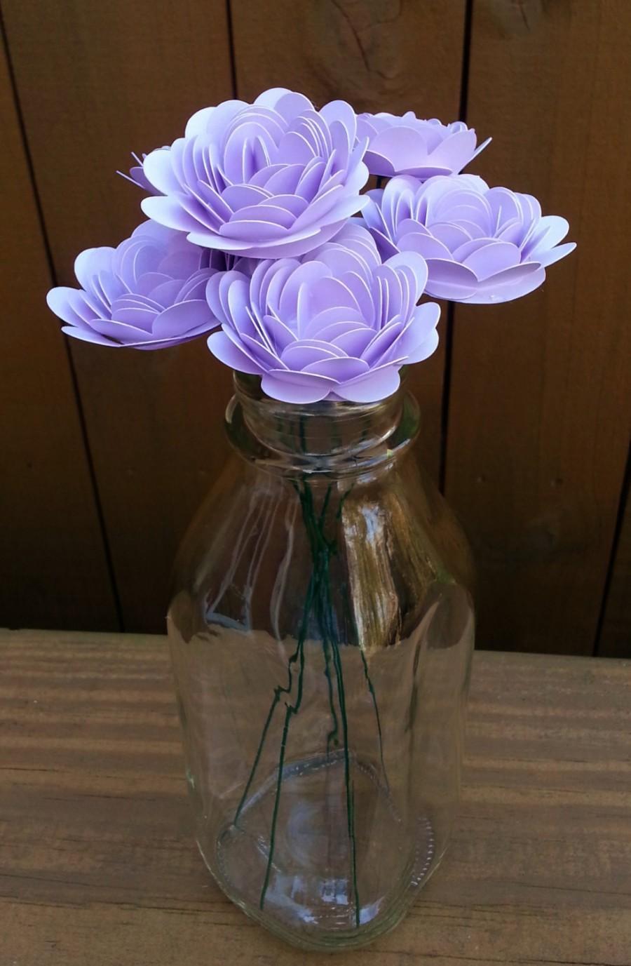 Paper Flower Bouquet 6 Small Lavender Purple Mums Handmade Paper