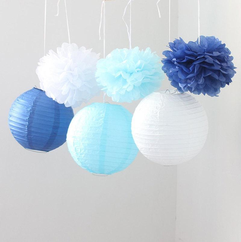 Mariage - Set of 9 Mixed Royal Blue Aqua Blue White Tissue Paper Pom Poms and Paper Lantern Wedding Birthday Shower Party Centerpieces Hanging Decor
