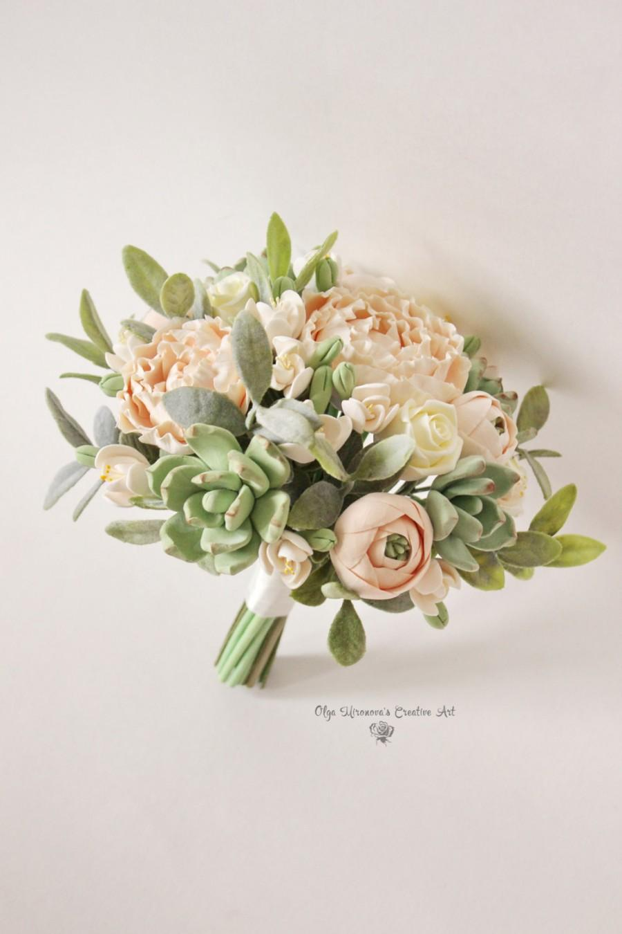 Alternative wedding bouquet keepsake wedding bouquet peach blush alternative wedding bouquet keepsake wedding bouquet peach blush peonies green succulents bridal bouquet clay flowers weddingl bouquet izmirmasajfo Images