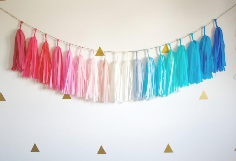 Gender Reveal Tassel Garland Pink And Blue Baby Shower Decorations