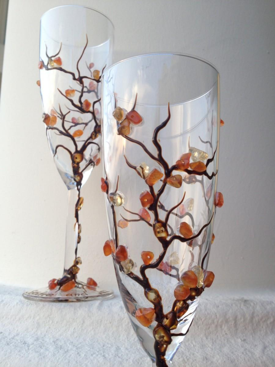 Mariage - Fall theme wedding champagne flutes, hand decorated with semiprecious stones in brown and burnt orange colors, Autumn wedding theme