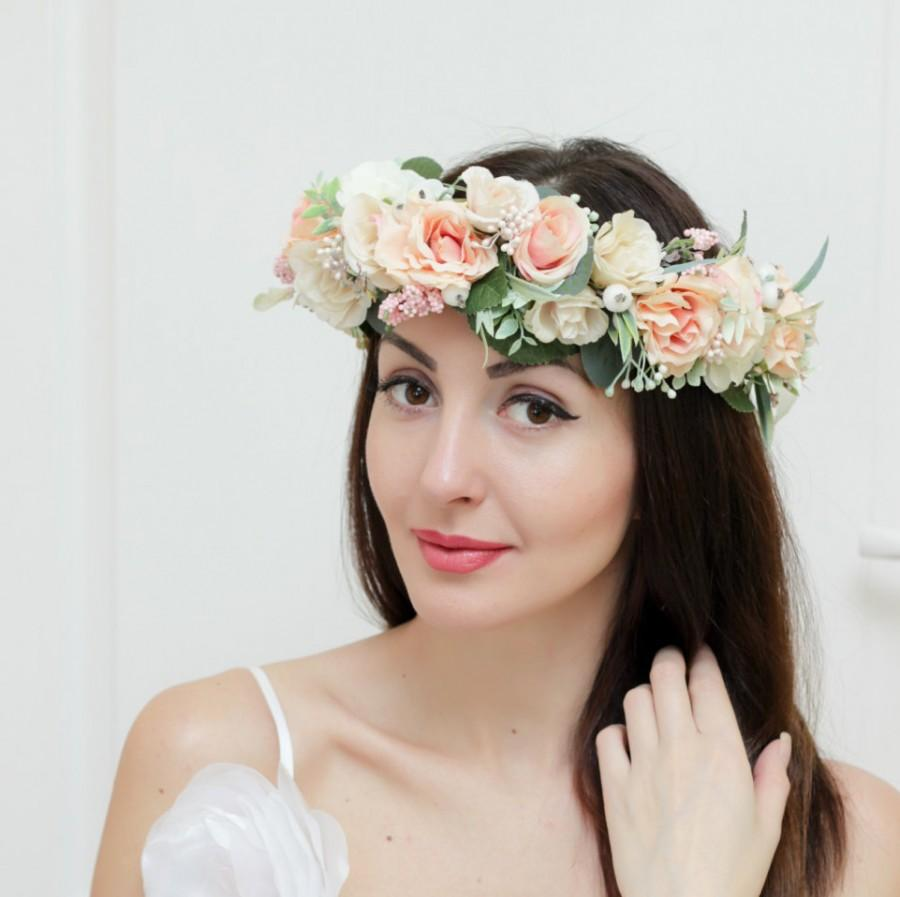 Bridal floral crown Flower headband Bridal headband Rose flower crown Flower  head wreath Peach floral crown Boho floral crown Summer crown 3559a1a47aa