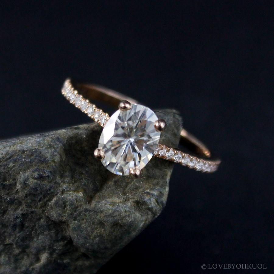 Forever Brilliant Oval Cut Moissanite Ring Solitaire Engagement Ring Rose  Gold