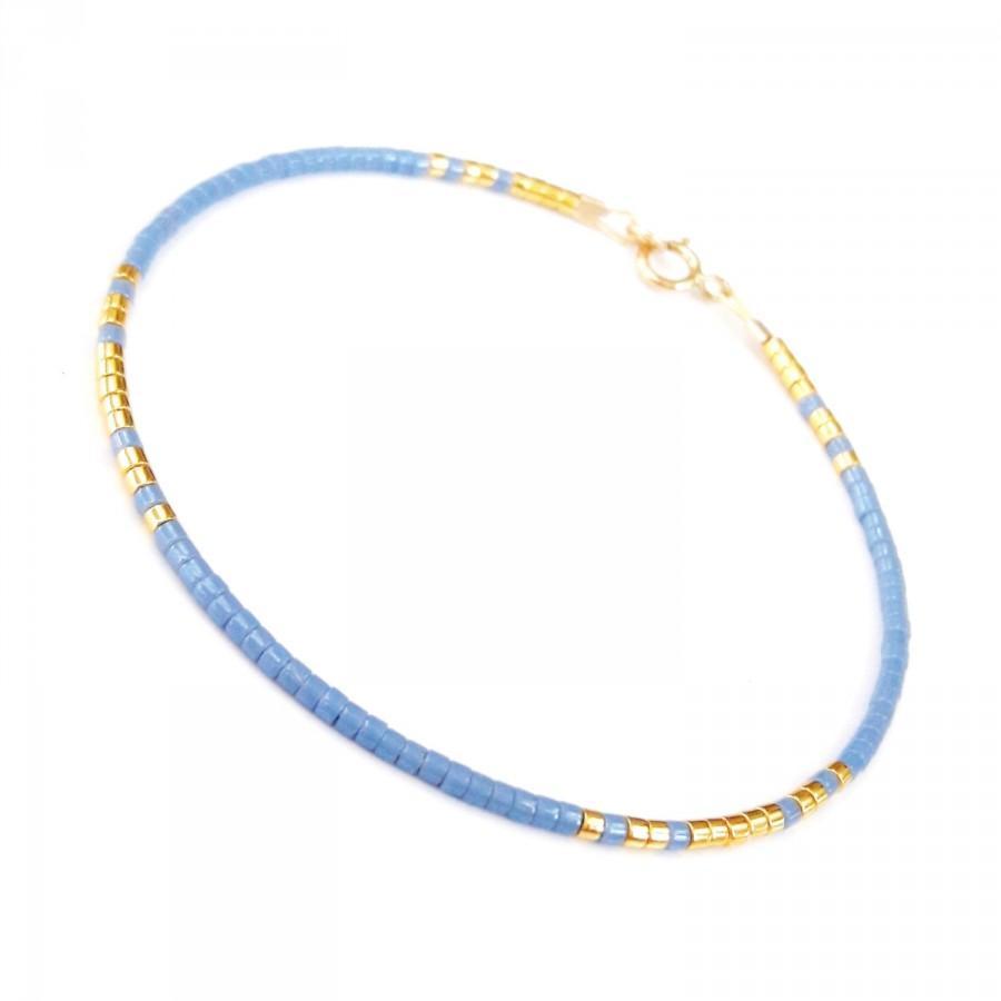 زفاف - Thin Bracelet Something Blue Bracelet Dainty bracelet Blue Gold Wedding Bridesmaid Bracelets