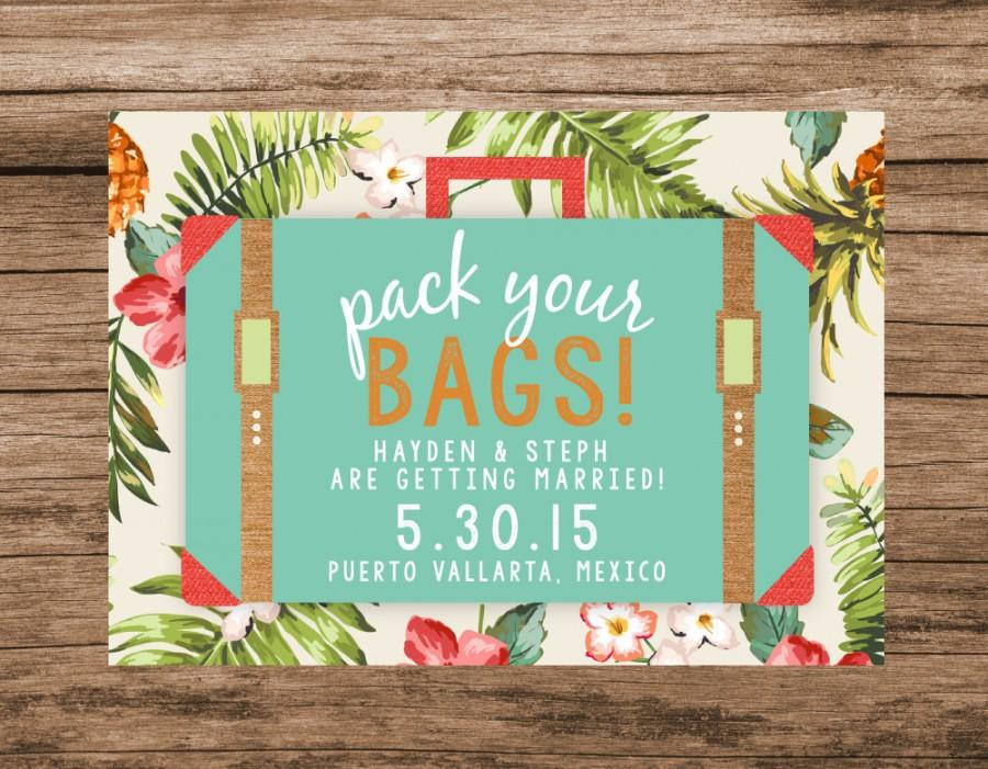 Mariage - Destination Save the Date, Tropical Save the Date, Pack Your Bags Suitcase