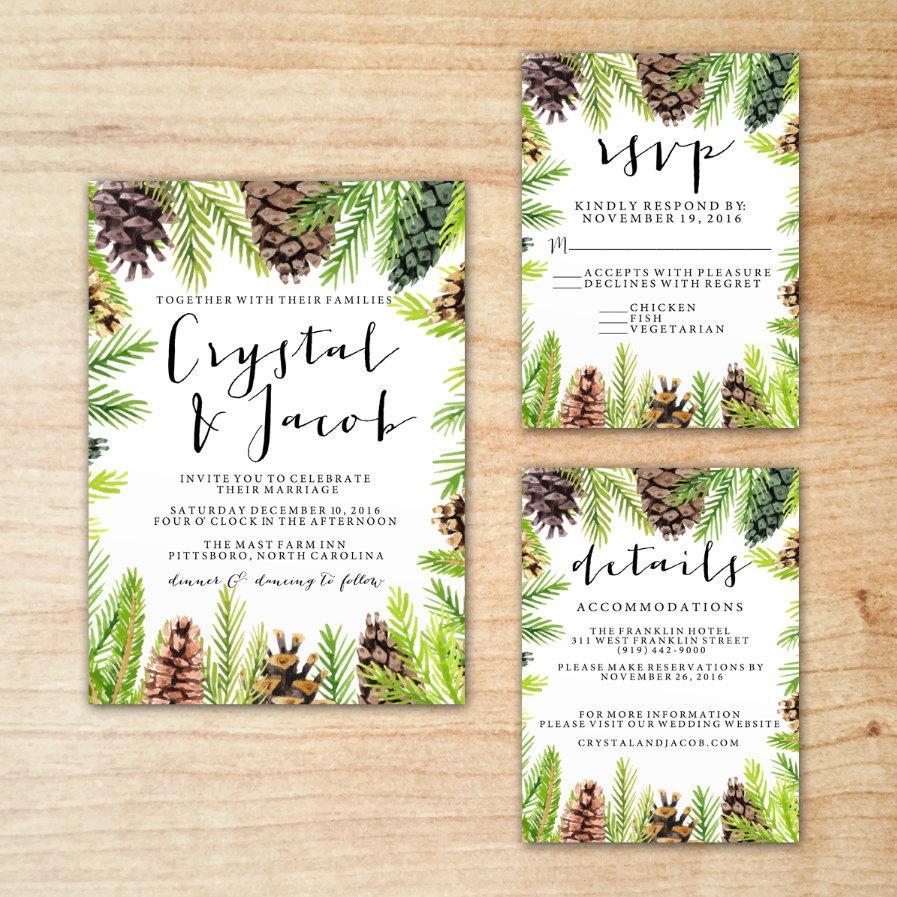 Christmas Winter Pine Cone Greenery Wedding Invitation Suite Set ...