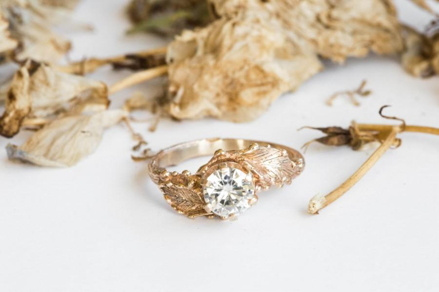 زفاف - 14k gold moissanite engagement ring, twig nature engagement ring, gold leaf engagement ring