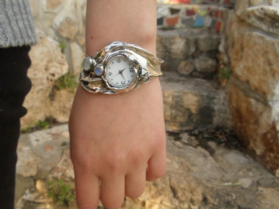 زفاف - Handcrafted 925 Sterling Silver Watch, Cuff Bracelet , Semi preacious stones inlaid