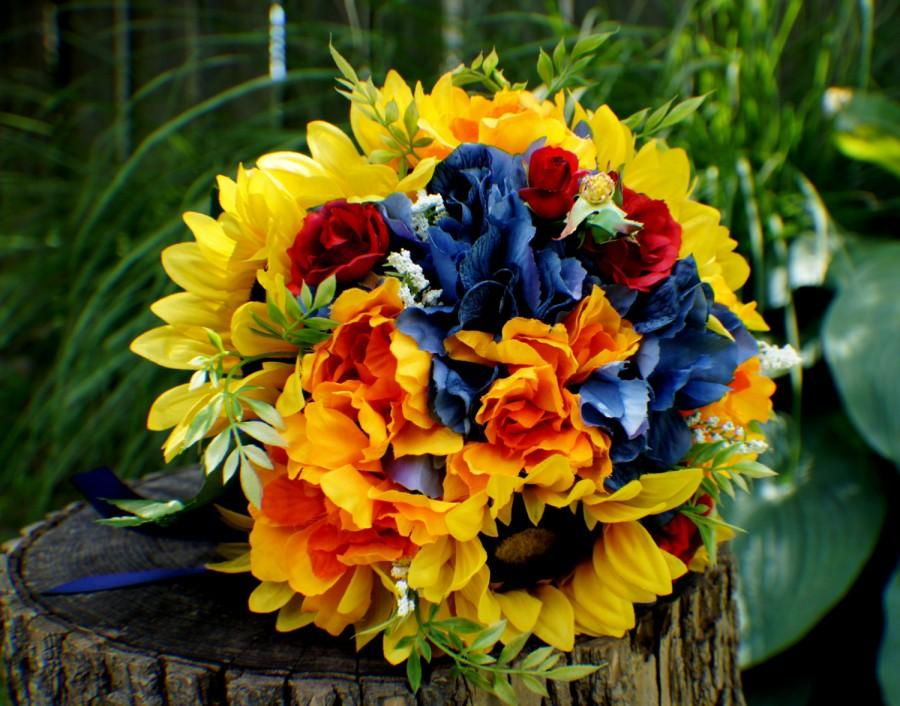 Hochzeit - READY TO SHIP Wedding Bouquet, Sunflower Bridal Bouquet, Silk Wedding Flowers, Red Yellow Blue Bouquet, Vintage Wedding, Wedding Bride