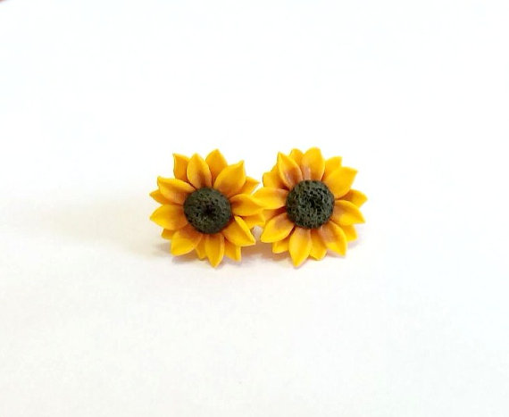 Mariage - Sunflower Stud Earrings, Summer Flower, Flower Earrings, Summer Jewelry. Yellow Flower Earrings, Tiny sunflower earrings