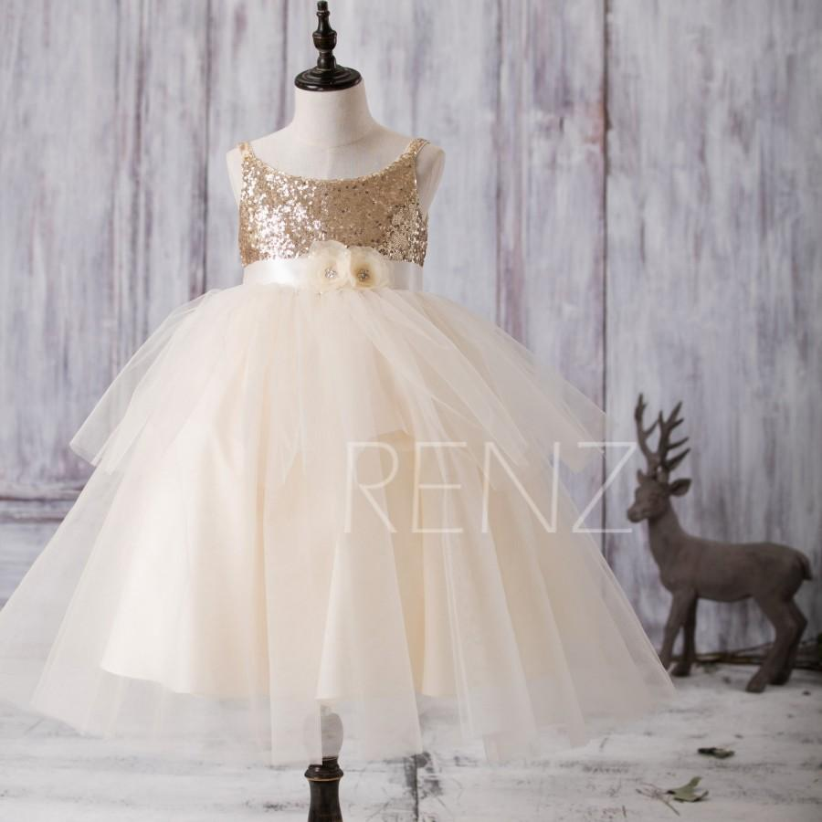 Wedding - 2016 Golden Junior Bridesmaid Dress with Flower Sash, Ivory Mesh Flower Girl Dress, Ruffle Draped Puffy Dress Floor Length (FK285)