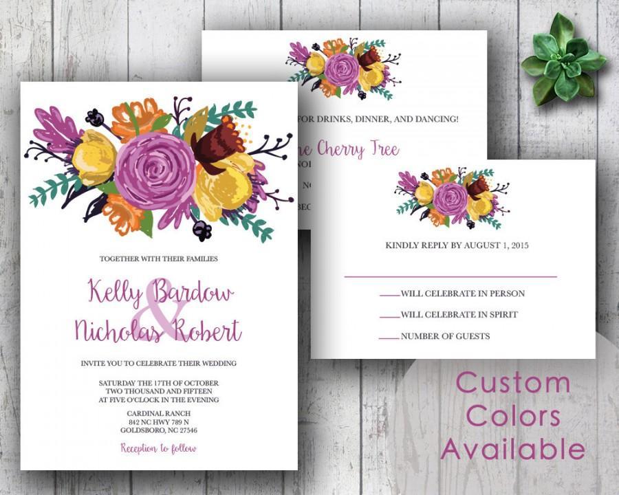 Printable Wedding Invitation PDF Set Or Pick & Choose - Large ...
