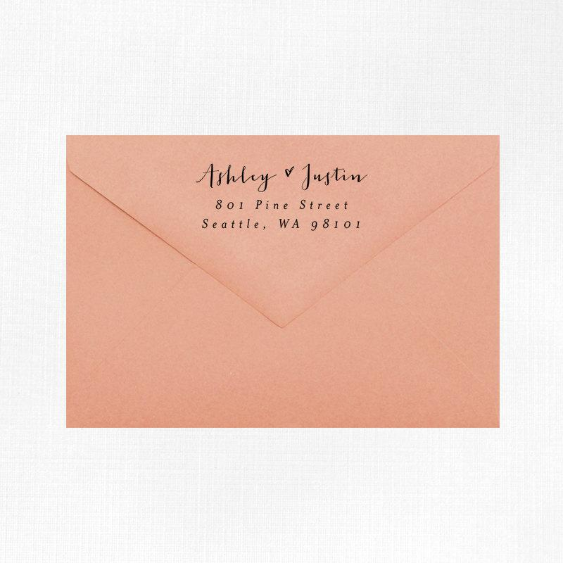 return address stamp style wood mounted or selfinking wedding invitations - Addressing Wedding Invitations Etiquette