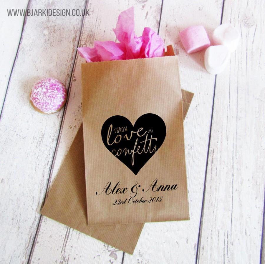 زفاف - Personalised paper bags for wedding gifts and favours, will with confetti for wedding guests and wedding table decoration, pack of 10