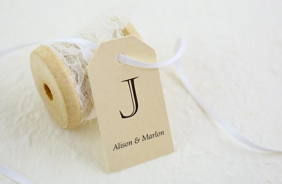 زفاف - Wedding Favor Tags - Gift Tags, Thank You Tags, Monogram Tags, Elegant Favors, Personalized Favor Tags, Last Initial - Set of 25 (SMGT-CHV)